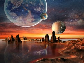 Alien planet with mountains, sea and planets on background
