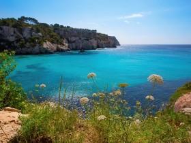 Cala Macarella Ciudadela Menorca turquoise Mediterranean sea in Balearic islands