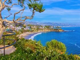 Beach and surf of Laguna Beach, California