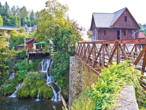 Waterfalls of Rastoke river village