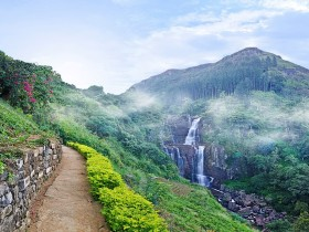 Ramboda magnificent waterfall in the mountains of Sri Lanka