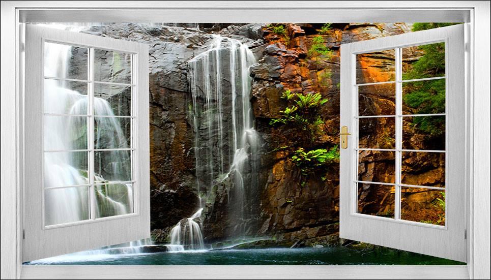 tranh dán tường 3D cửa sổ