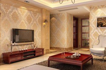 Giấy dán tường phòng khách cổ điển thể hiện sự đẳng cấp và sang trọng
