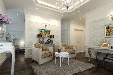 Giấy dán tường phòng khách nhà ống phù hợp với mọi không gian