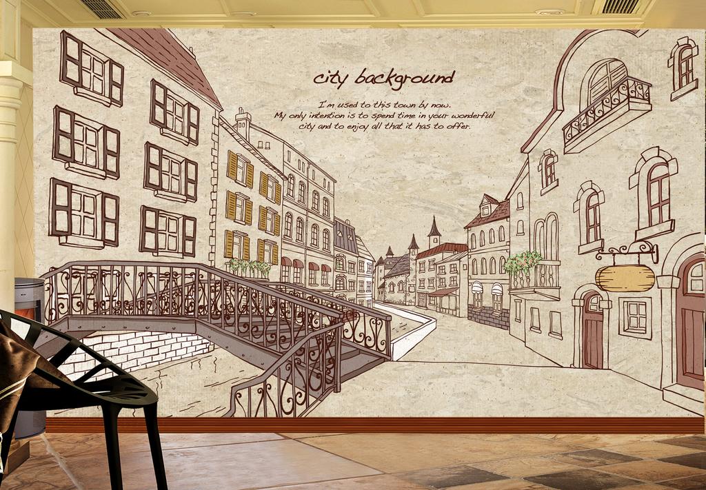 tranh dán tường thành phố