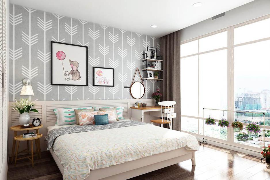 giấy dán tường phòng ngủ vợ chồng