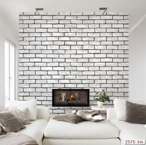 Giấy dán tường giả gạch cho phòng khách thêm sang trọng (Mẫu: Library 2575-2)