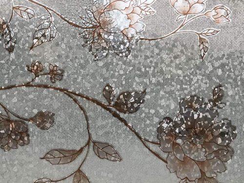 giấy dán kính 3D ED053 hình hoa nâu