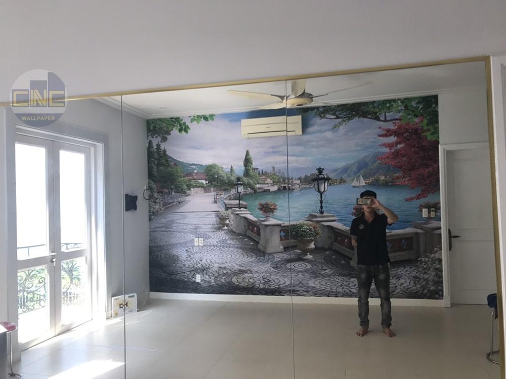 thi công tranh dán tường