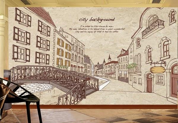 Mẫu tranh dán tường thành phố được thể hiện qua nét vẽ