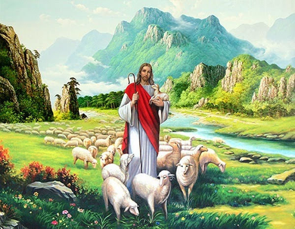 Mẫu tranh với hình ảnh chúa Kitô và đàn cừu