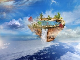 island with a lake, trees, a waterfall on the from above flipped mountain is flying in the sky
