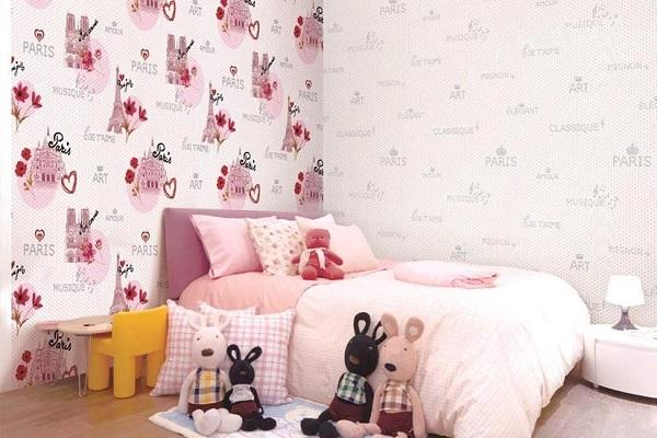 Mẫu giấy dán tường phòng bé gái