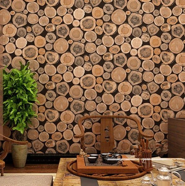 giấy dán tường giả gỗ
