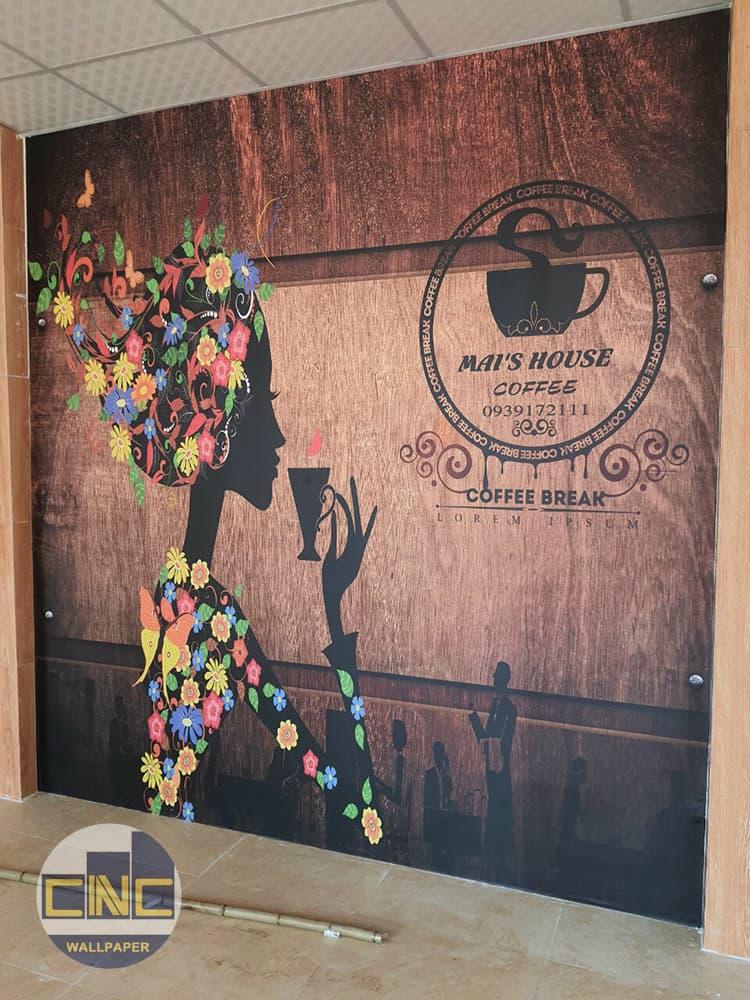 Tranh dán tường cafe