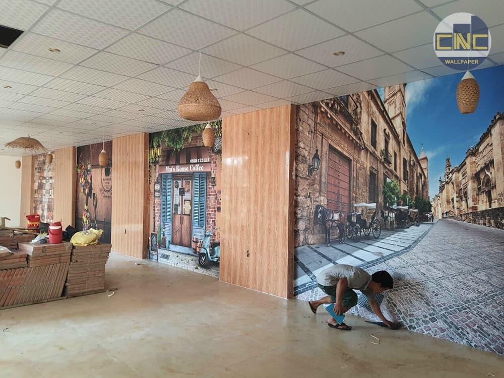 Tranh dán tường quán cafe