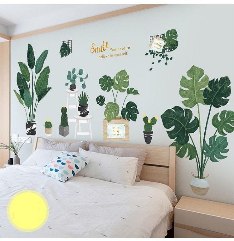 Phòng ngủ càng thêm tươi mới với decal dán tường cây cỏ nhiệt đới