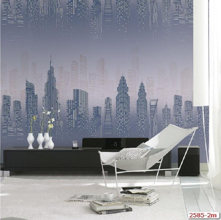Mẫu giấy dán tường 3D phong cảnh thành phố về đêm