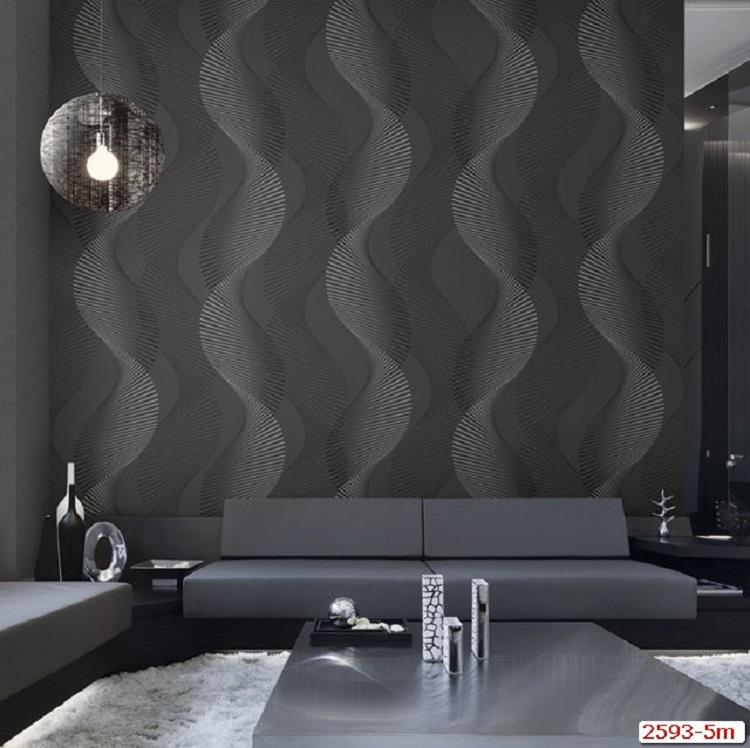 Phòng khách thêm vẻ huyền bí, sang trọng với giấy dán tường 3d màu đen