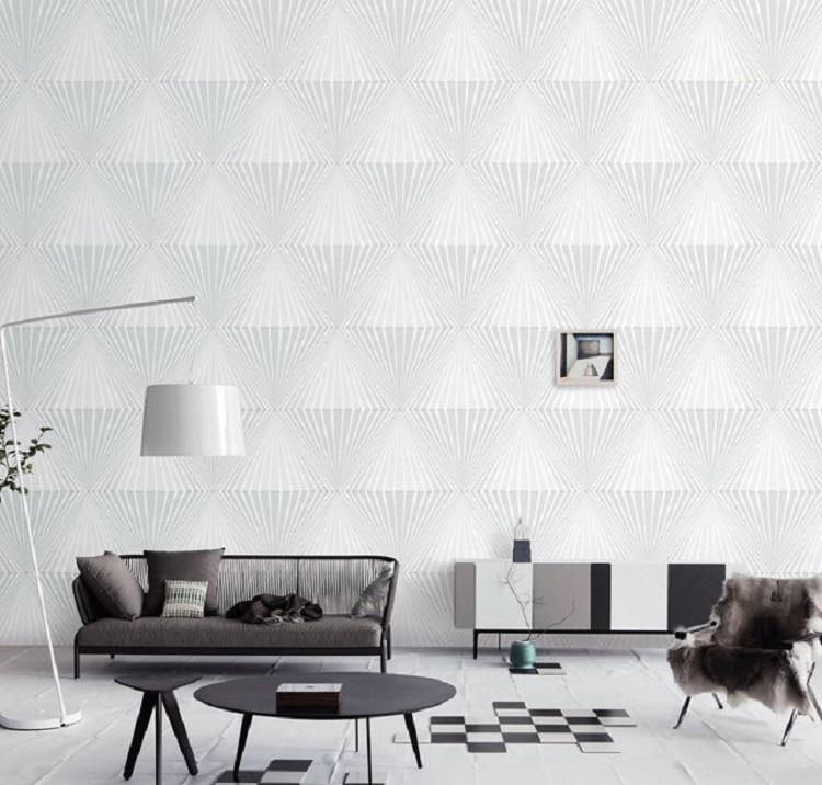 Không gian phòng khách sáng bừng với điểm nhấn từ giấy dán tường 3D