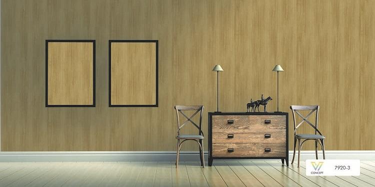 Mẫu giấy dán tường vân gỗ tối giản, tông màu trầm tính (Model: V-Concept 7920-3)