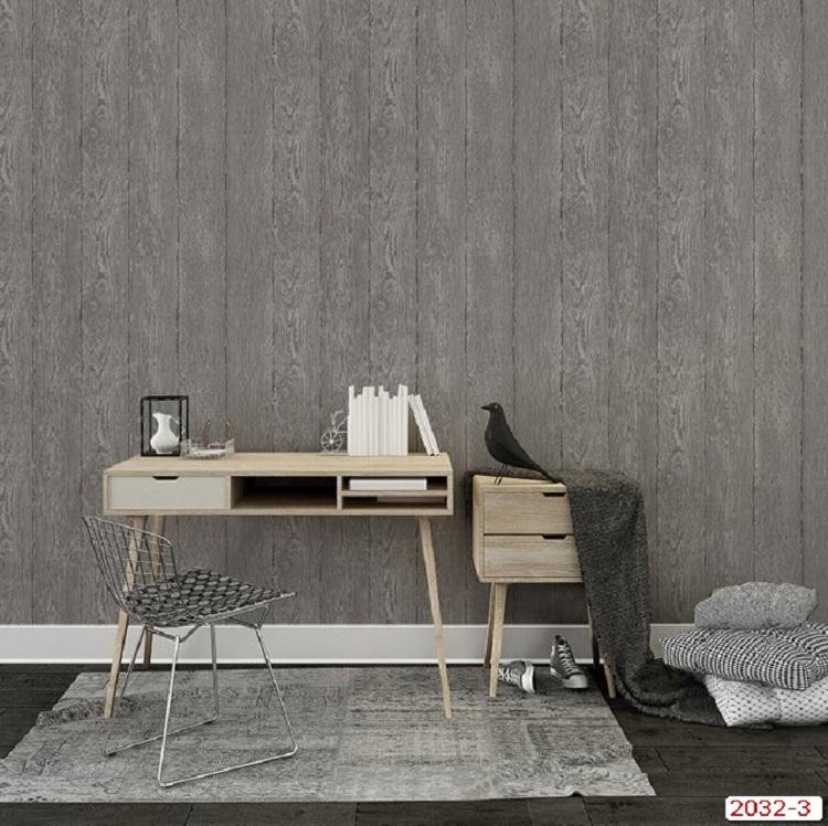 Giấy dán tường giả gỗ với tông màu xám hiện đại, sang trọng (Model: Eroom 2032-3)