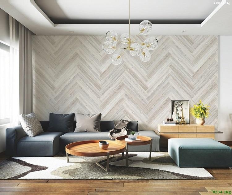 Giấy dán tường giả gỗ dạng xương cá tinh tế, sang trọng cho phòng khách