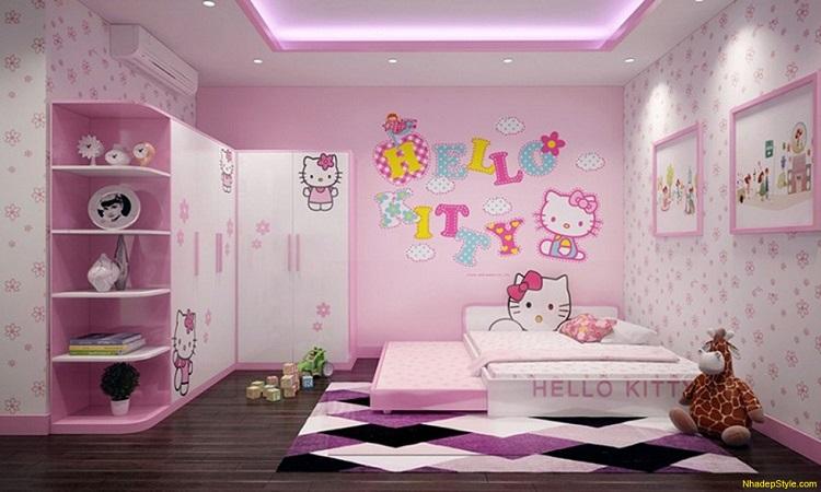 Mẫu giấy dán tường cho bé gái với gam màu hồng được ưa thích nhiều cho phòng ngủ
