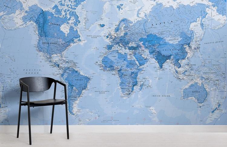 Mẫu giấy dán tường bản đồ thế giới với màu xanh bắt mắt, giúp bé học hỏi tốt hơn