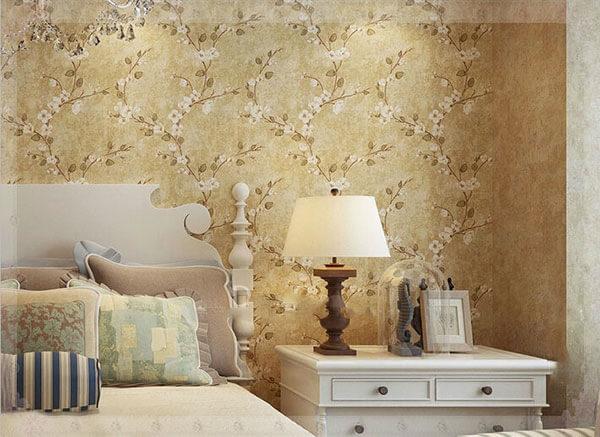 Decor không gian phòng ngủ với mẫu giấy dán tường kiểu Vintage