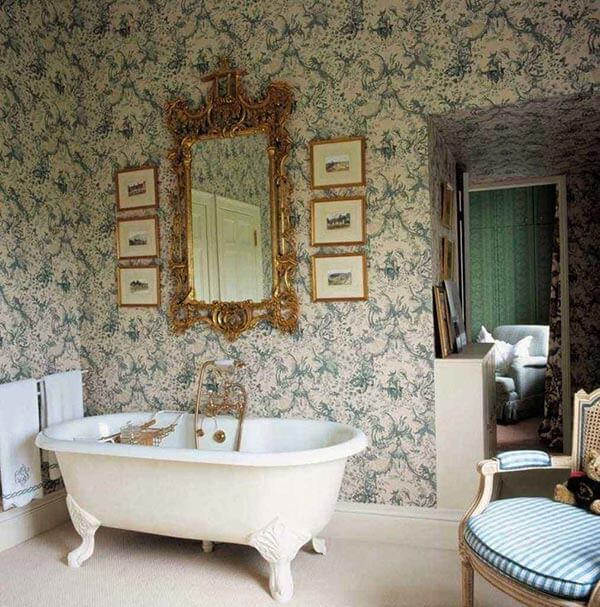 Tạo cảm giác thư giãn cho phòng tắm bằng cách trang trí giấy dán tường kiểu Vintage